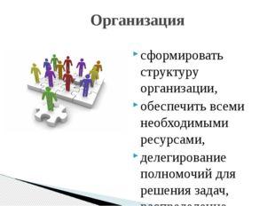 сформировать структуру организации, обеспечить всеми необходимыми ресурсами,