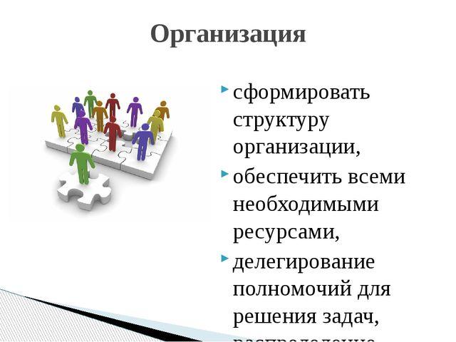 сформировать структуру организации, обеспечить всеми необходимыми ресурсами,...
