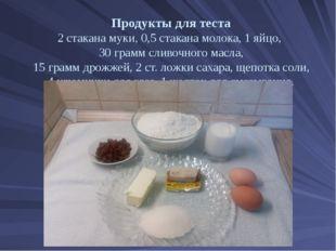 Продукты для теста 2 стакана муки, 0,5 стакана молока, 1 яйцо, 30 грамм сливо