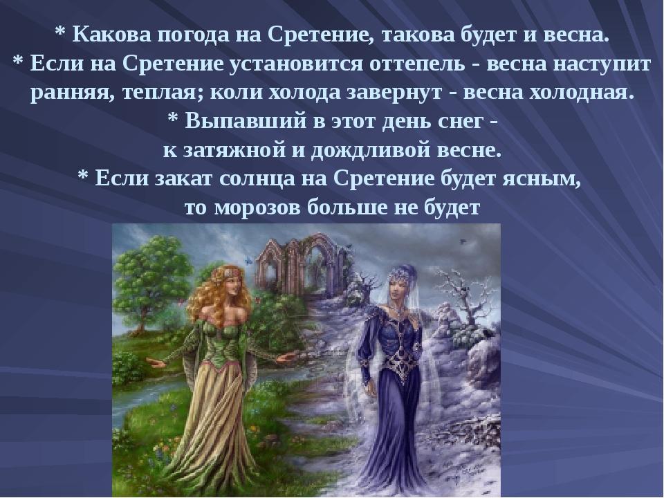 * Какова погода на Сретение, такова будет и весна. * Если на Сретение установ...