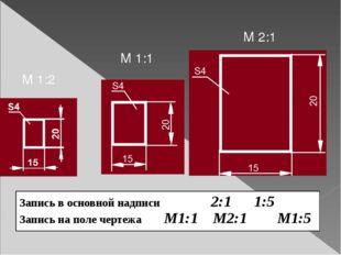 М 2:1 М 1:1 М 1:2 Запись в основной надписи2:1 1:5 Запись на поле чертежаМ1:1
