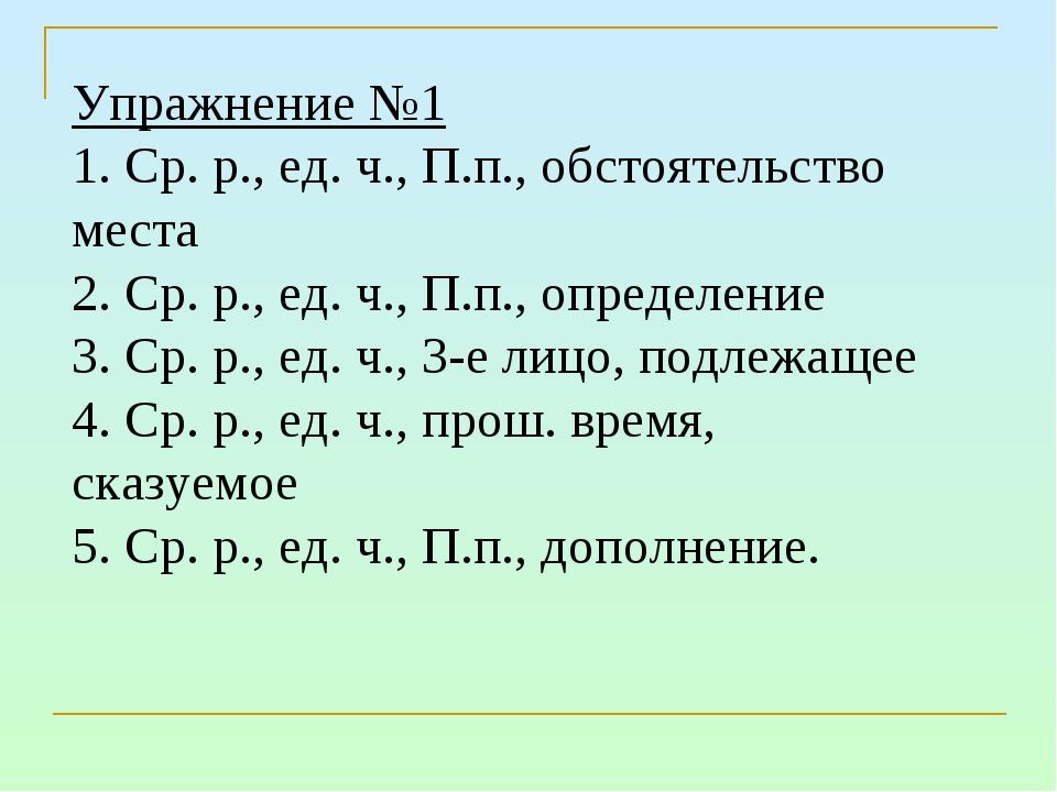 Упражнение №1 1. Ср. р., ед. ч., П.п., обстоятельство места 2. Ср. р., ед. ч....