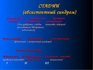 СТАДИИ (абсистентный синдром) Не употребляет Эпизодическое Чрезмерное алкогол
