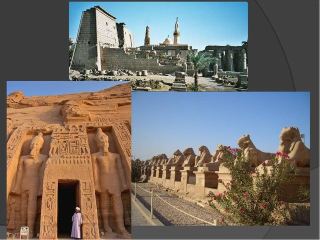 The architecture of ancient Egypt known to us by the constructions of tombs,...