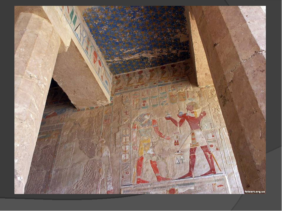 Walls were covered with hieroglyphics, and were painted in bright colors.