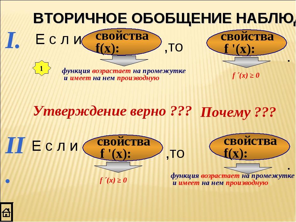 I. свойства f(x): свойства f '(x): II. свойства f(x): свойства f '(x): 1 функ...