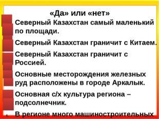 «Да» или «нет» Северный Казахстан самый маленький по площади. Северный Казахс