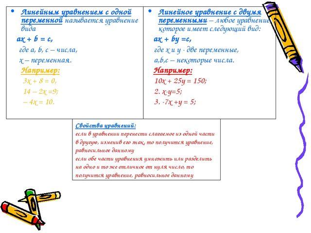 Линейным уравнением с одной переменной называется уравнение вида aх + b = с,...