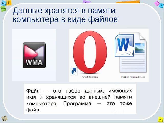 Данные хранятся в памяти компьютера в виде файлов 2 Tab 9 Alt Ins Esc End O Щ