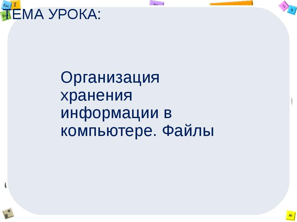 ТЕМА УРОКА: Организация хранения информации в компьютере. Файлы 2 Tab 9 Alt I...