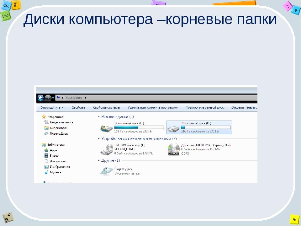 Диски компьютера –корневые папки 2 Tab 9 Alt Ins Esc End O Щ