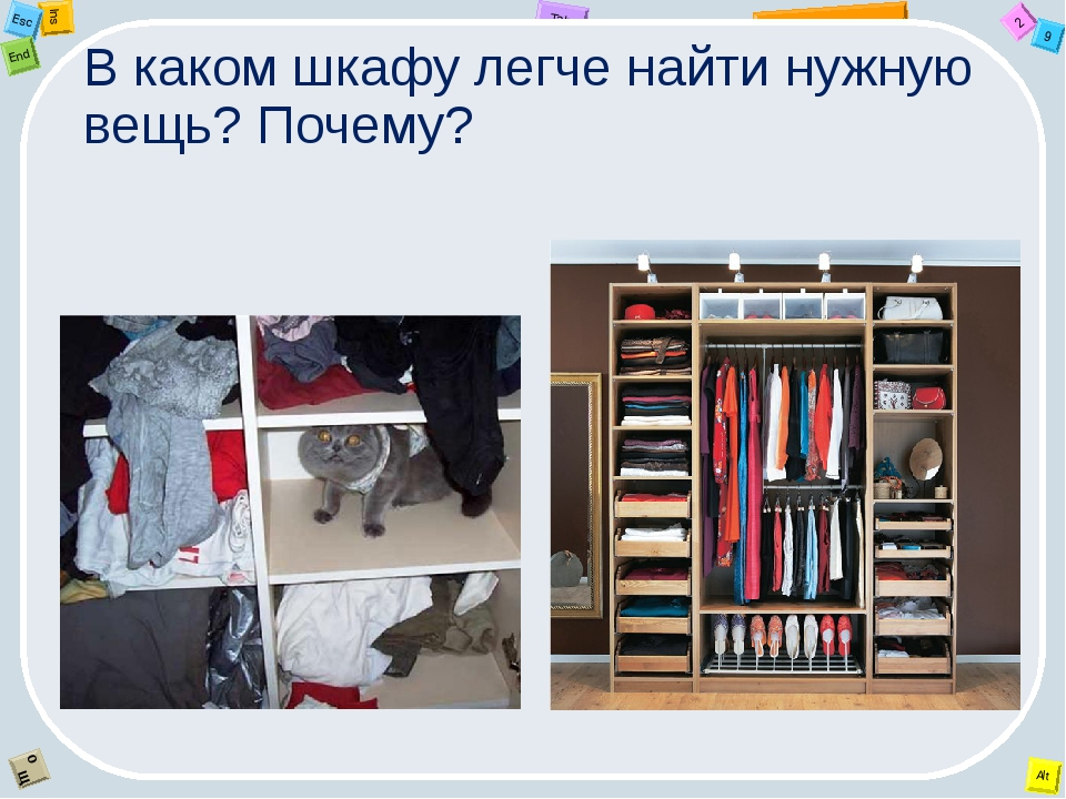 В каком шкафу легче найти нужную вещь? Почему? 2 Tab 9 Alt Ins Esc End O Щ