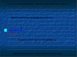 v зарядталған бөлшектің жылдамдығы. v және В векторлары бір – біріне бұрыш жа
