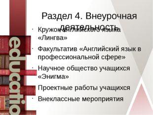 Раздел 4. Внеурочная деятельность Кружок английского языка «Лингва» Факультат