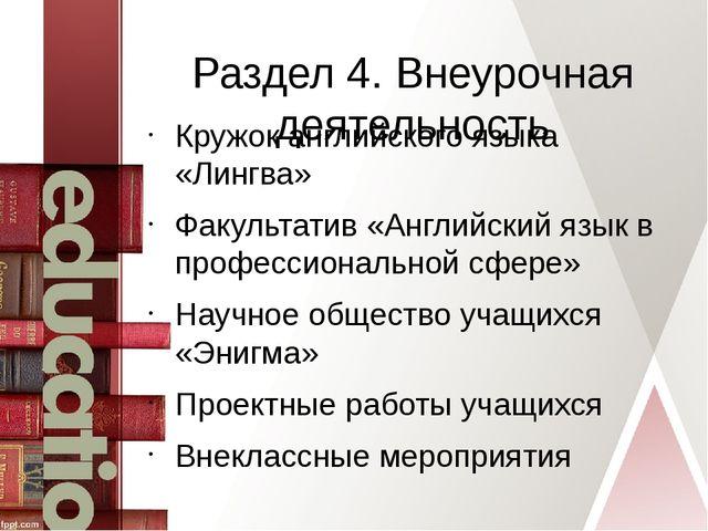 Раздел 4. Внеурочная деятельность Кружок английского языка «Лингва» Факультат...