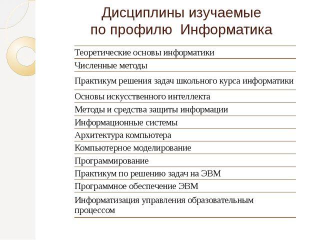 Дисциплины изучаемые по профилю Информатика Теоретические основы информатики...