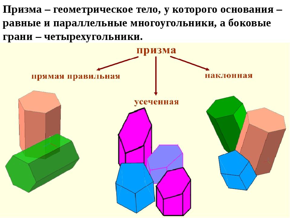 Призма – геометрическое тело, у которого основания – равные и параллельные мн...