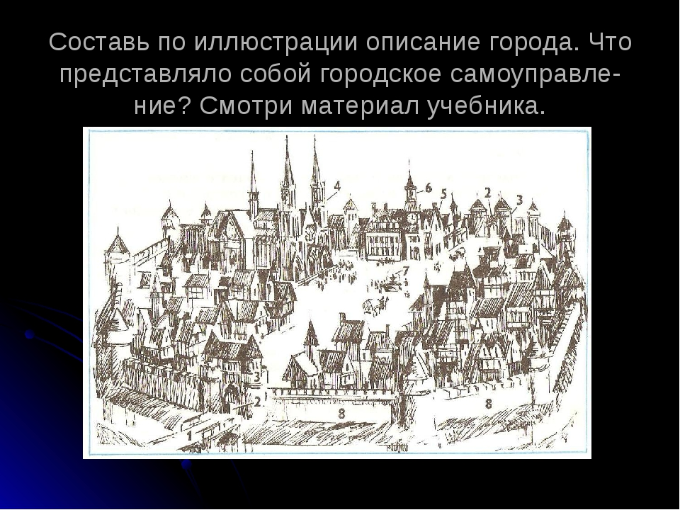 Составь по иллюстрации описание города. Что представляло собой городское само...