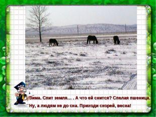 Зима. Спит земля… . А что ей снится? Спелая пшеница. Ну, а людям не до сна. П