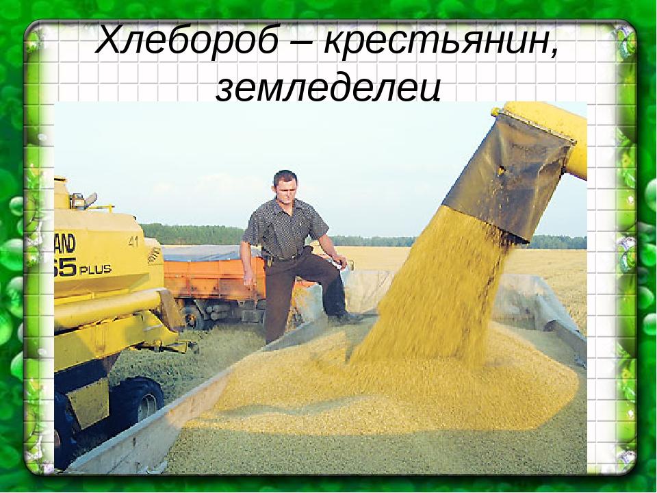 Хлебороб – крестьянин, земледелец