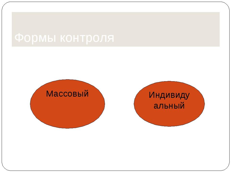 Формы контроля Массовый Индивидуальный