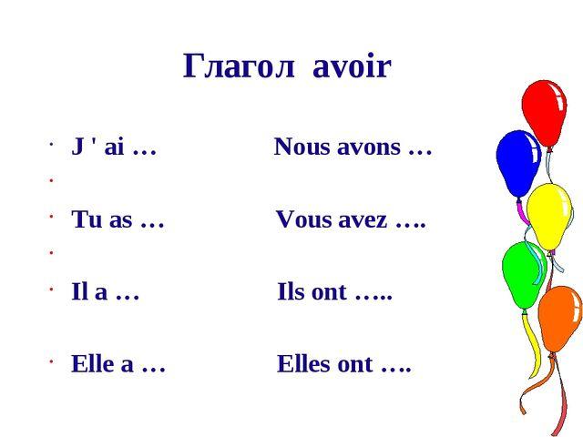 Глагол avoir J ' ai … Nous avons … Tu as … Vous avez …. Il a … Ils ont ….. El...