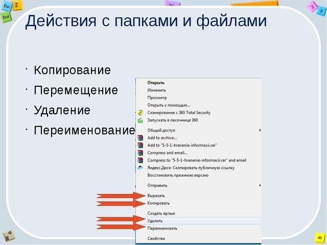 Действия с папками и файлами Копирование Перемещение Удаление Переименование...