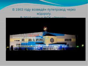 В 1983 году возведён путепровод через ж/дорогу. В 2010 открыт ФСК «Звезда».