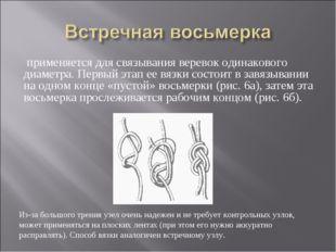 применяется для связывания веревок одинакового диаметра. Первый этап ее вязк