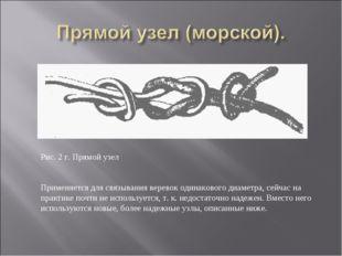 Рис. 2 г. Прямой узел Применяется для связывания веревок одинакового диаметра
