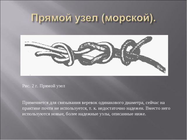 Рис. 2 г. Прямой узел Применяется для связывания веревок одинакового диаметра...