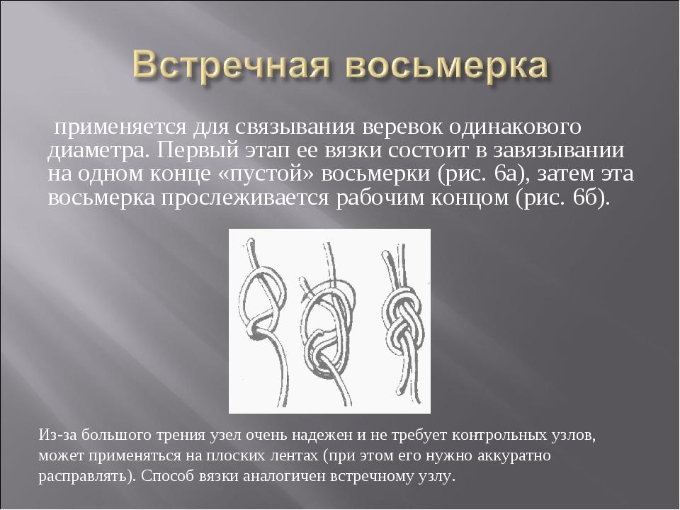применяется для связывания веревок одинакового диаметра. Первый этап ее вязк...