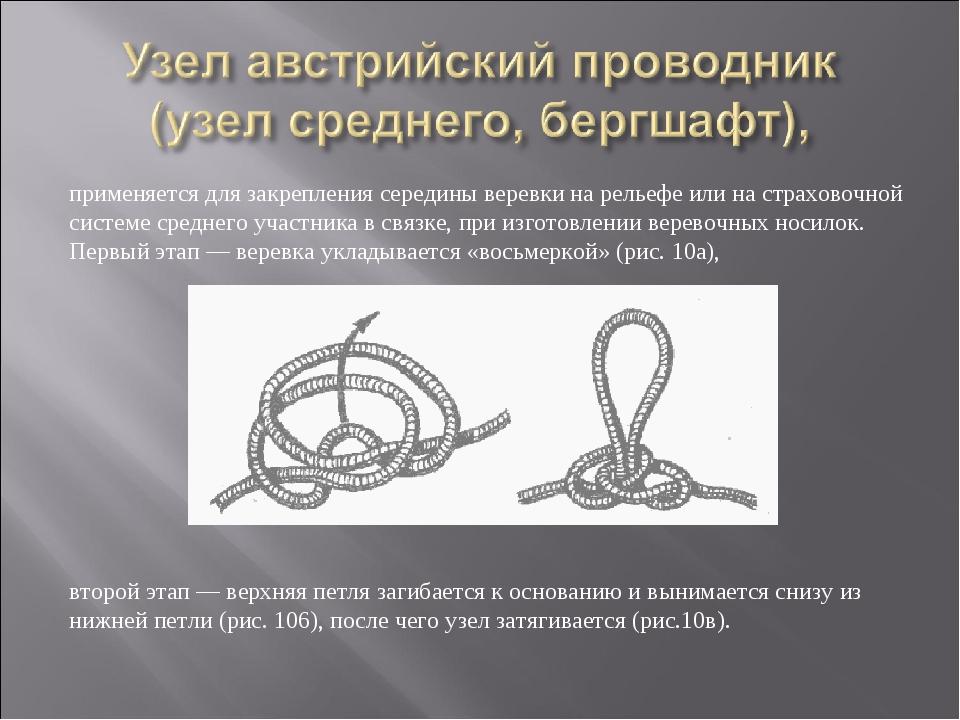 применяется для закрепления середины веревки на рельефе или на страховочной с...