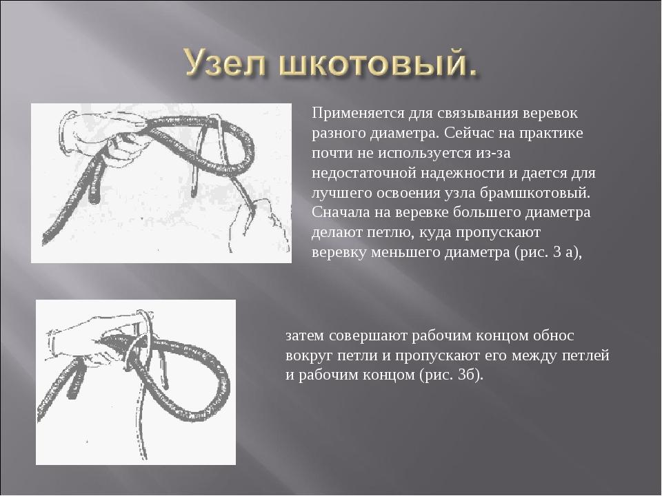 Применяется для связывания веревок разного диаметра. Сейчас на практике почти...