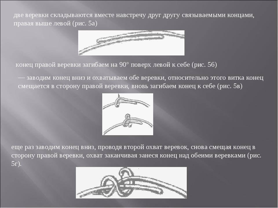 две веревки складываются вместе навстречу друг другу связываемыми концами, пр...