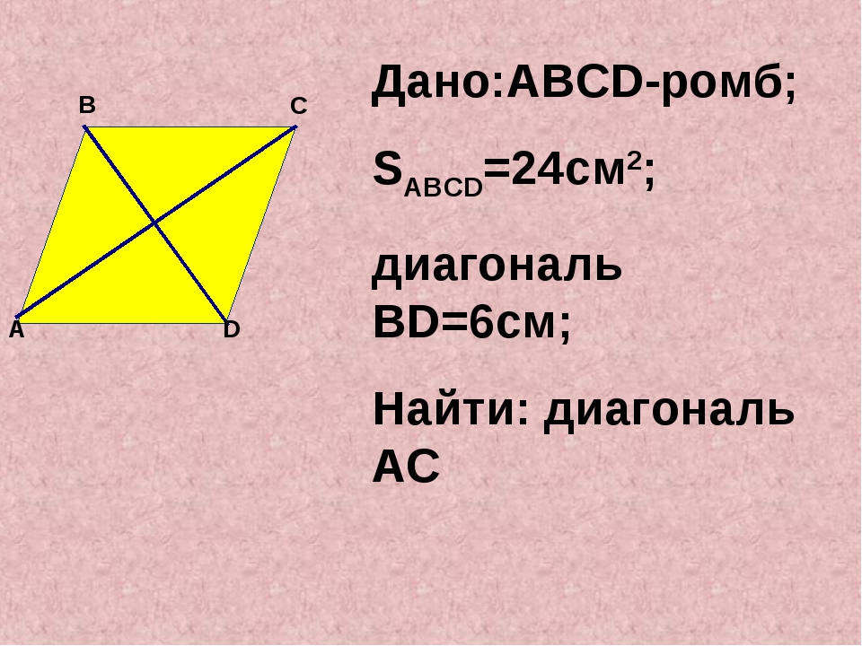 Дано:ABCD-ромб; SABCD=24см2; диагональ ВD=6см; Найти: диагональ AC D A B C