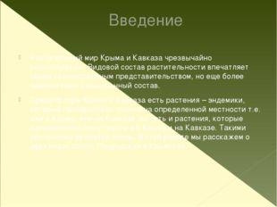 Введение Растительный мир Крыма и Кавказа чрезвычайно разнообразен. Видовой