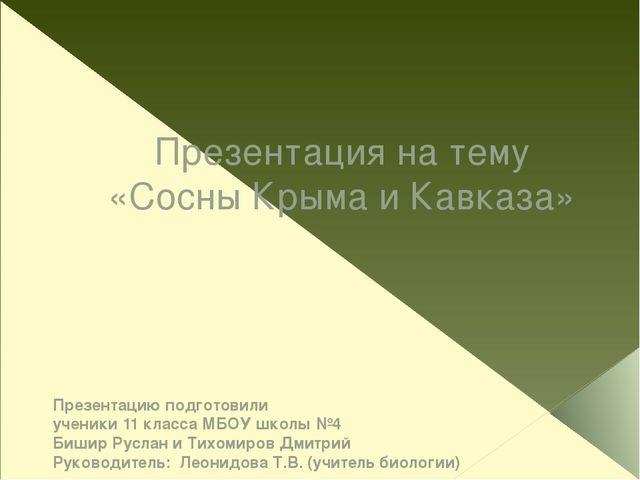 Презентация на тему «Сосны Крыма и Кавказа» Презентацию подготовили ученики 1...