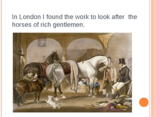 In London I found the work to look after the horses of rich gentlemen.
