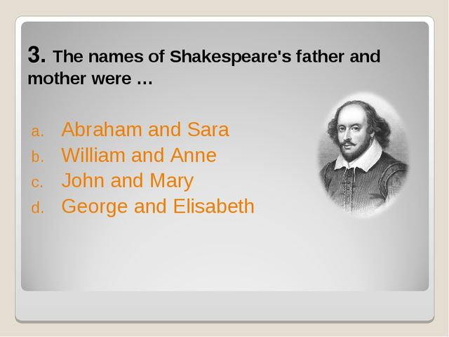 3. The names of Shakespeare's father and mother were … Abraham and Sara Willi...