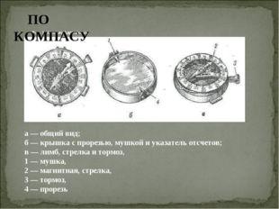 Рис. 1. Компас Адрианова ПО КОМПАСУ а — общий вид; б — крышка с прорезью, муш