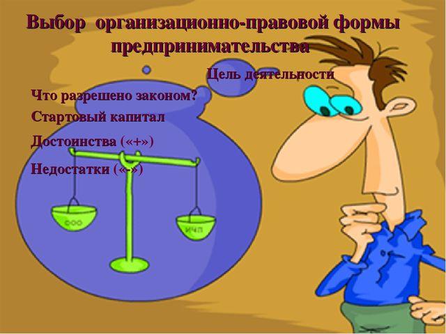 Цель деятельности Стартовый капитал Достоинства («+») Недостатки («-») Выбор...
