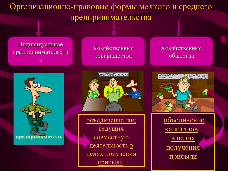 Организационно-правовые формы мелкого и среднего предпринимательства Индивиду...
