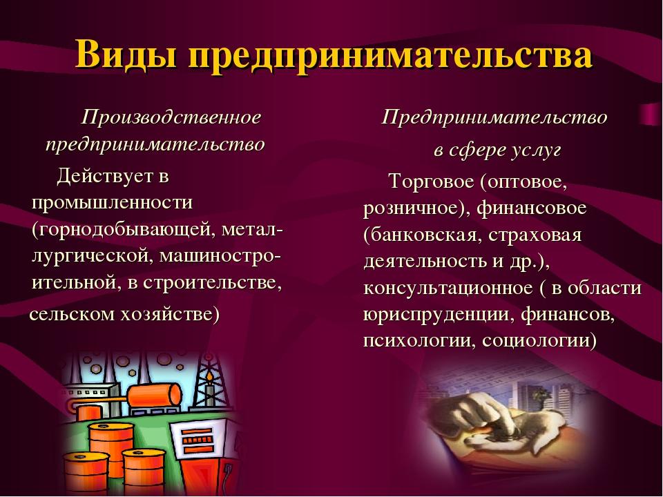 Виды предпринимательства Производственное предпринимательство Действует в про...