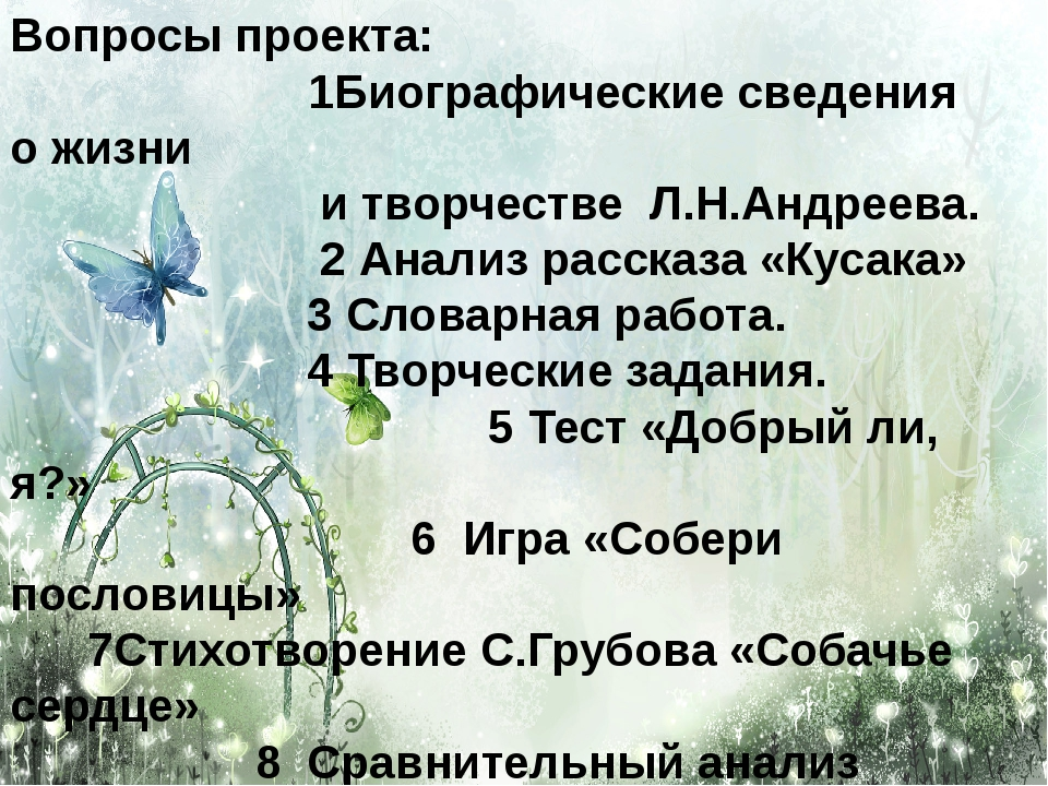 Вопросы проекта: 1Биографические сведения о жизни и творчестве Л.Н.Андреева....