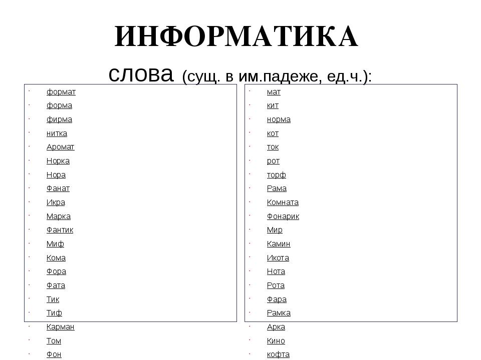 ИНФОРМАТИКА слова (сущ. в им.падеже, ед.ч.): формат форма фирма нитка Аромат...