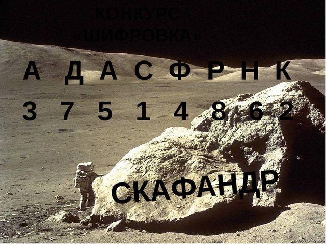 КОНКУРС «ШИФРОВКА» А Д А С Ф Р Н К 3 7 5 1 4 8 6 2 СКАФАНДР