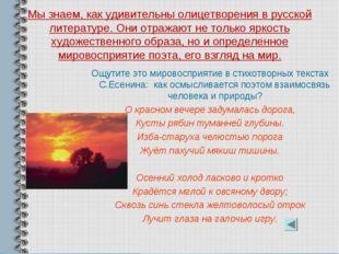 Мы знаем, как удивительны олицетворения в русской литературе. Они отражают не