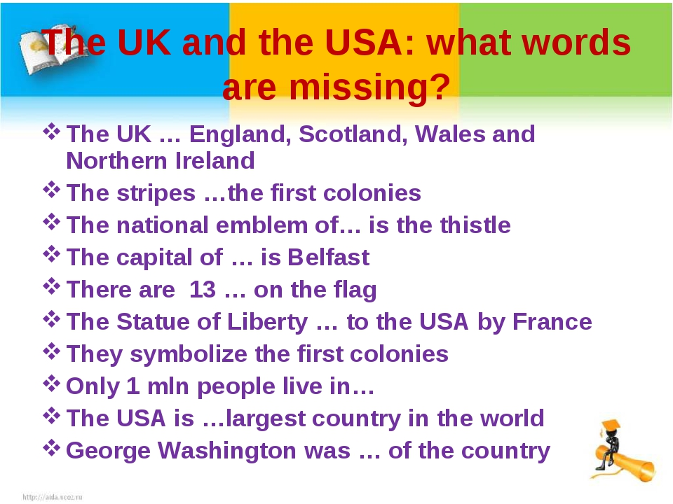 The UK and the USA: what words are missing? The UK … England, Scotland, Wales...