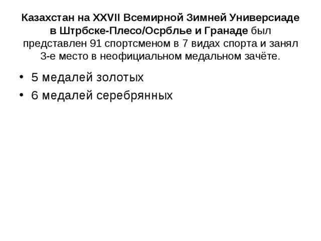 Казахстан на XXVII Всемирной Зимней Универсиаде в Штрбске-Плесо/Осрблье и Гр...